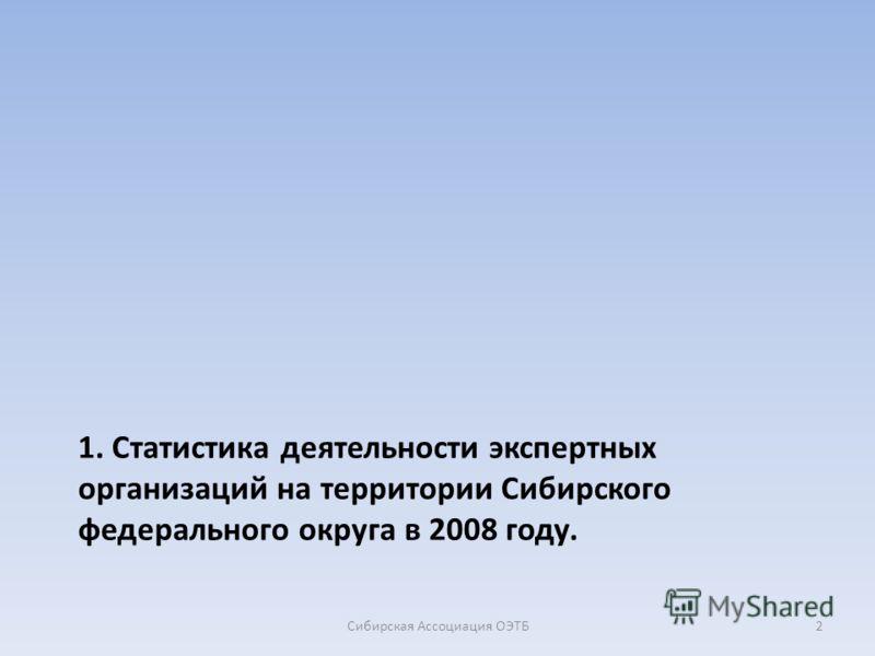 1. Статистика деятельности экспертных организаций на территории Сибирского федерального округа в 2008 году. 2Сибирская Ассоциация ОЭТБ