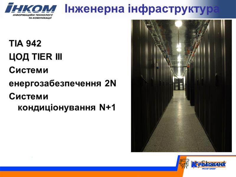 Інженерна інфраструктура TIA 942 ЦОД TIER III Cистеми енергозабезпечення 2N Cистеми кондиціонування N+1