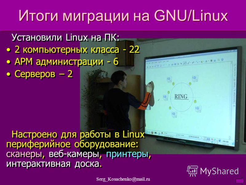Serg_Kosachenko@mail.ru Итоги миграции на GNU/Linux Установили Linux на ПК: 2 компьютерных класса - 22 АРМ администрации - 6 Серверов – 2 Настроено для работы в Linux периферийное оборудование: сканеры, веб-камеры, принтеры, интерактивная доска. Уста