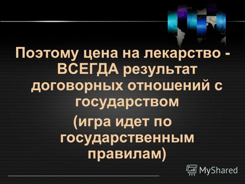 LOGO www.themegallery.com Поэтому цена на лекарство - ВСЕГДА результат договорных отношений с государством (игра идет по государственным правилам)
