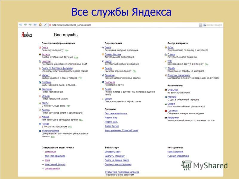 Все службы Яндекса
