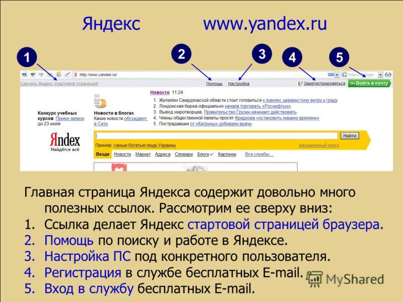 1 23 45 Главная страница Яндекса содержит довольно много полезных ссылок. Рассмотрим ее сверху вниз: 1.Ссылка делает Яндекс стартовой страницей браузера. 2.Помощь по поиску и работе в Яндексе. 3.Настройка ПС под конкретного пользователя. 4.Регистраци