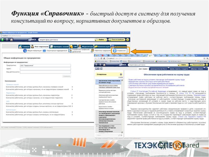 Функция «Справочник» - быстрый доступ в систему для получения консультаций по вопросу, нормативных документов и образцов.