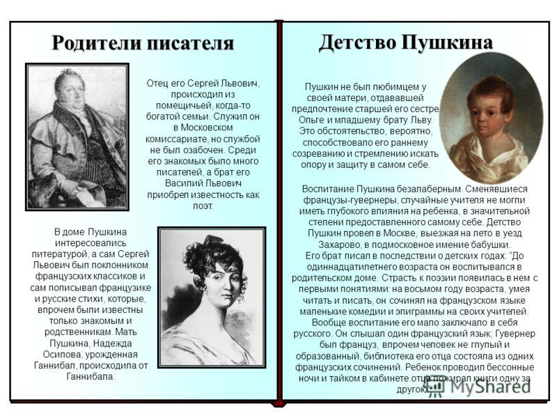 Детство Пушкина Пушкин не был любимцем у своей матери, отдававшей предпочтение старшей его сестре Ольге и младшему брату Льву. Это обстоятельство, вероятно, способствовало его раннему созреванию и стремлению искать опору и защиту в самом себе. Воспит