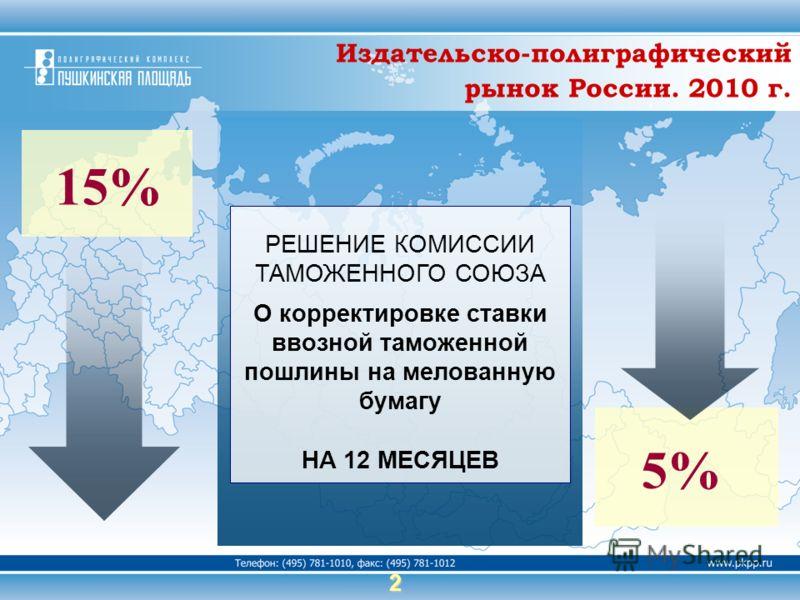 2 РЕШЕНИЕ КОМИССИИ ТАМОЖЕННОГО СОЮЗА О корректировке ставки ввозной таможенной пошлины на мелованную бумагу НА 12 МЕСЯЦЕВ 15% 5% Издательско-полиграфический рынок России. 2010 г.