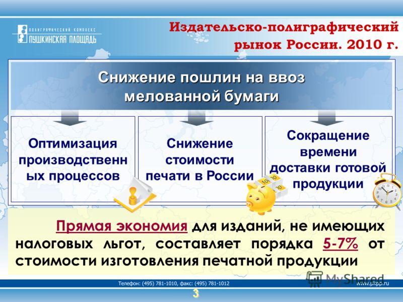 3 Сокращение времени доставки готовой продукции Оптимизация производственн ых процессов Снижение стоимости печати в России Снижение пошлин на ввоз мелованной бумаги Прямая экономия для изданий, не имеющих налоговых льгот, составляет порядка 5-7% от с