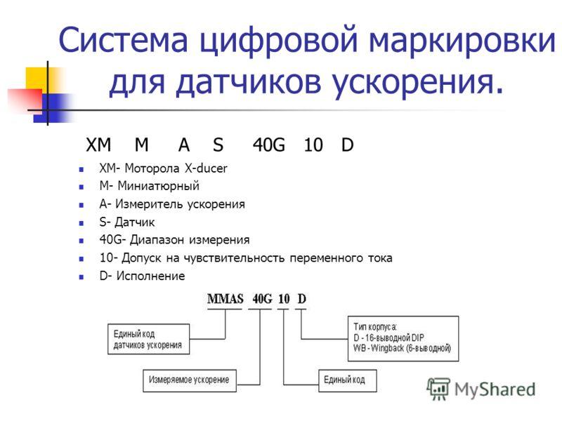 Система цифровой маркировки для датчиков ускорения. XM M A S 40G 10 D XM- Моторола X-ducer M- Миниатюрный А- Измеритель ускорения S- Датчик 40G- Диапазон измерения 10- Допуск на чувствительность переменного тока D- Исполнение