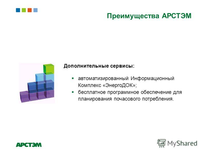 Дополнительные сервисы: автоматизированный Информационный Комплекс «ЭнергоДОК»; бесплатное программное обеспечение для планирования почасового потребления. Преимущества АРСТЭМ