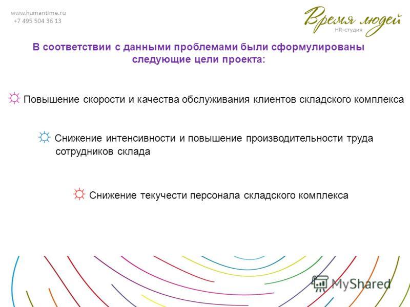 www.humantime.ru +7 495 504 36 13 В соответствии с данными проблемами были сформулированы следующие цели проекта: Снижение интенсивности и повышение производительности труда сотрудников склада Снижение текучести персонала складского комплекса Повышен