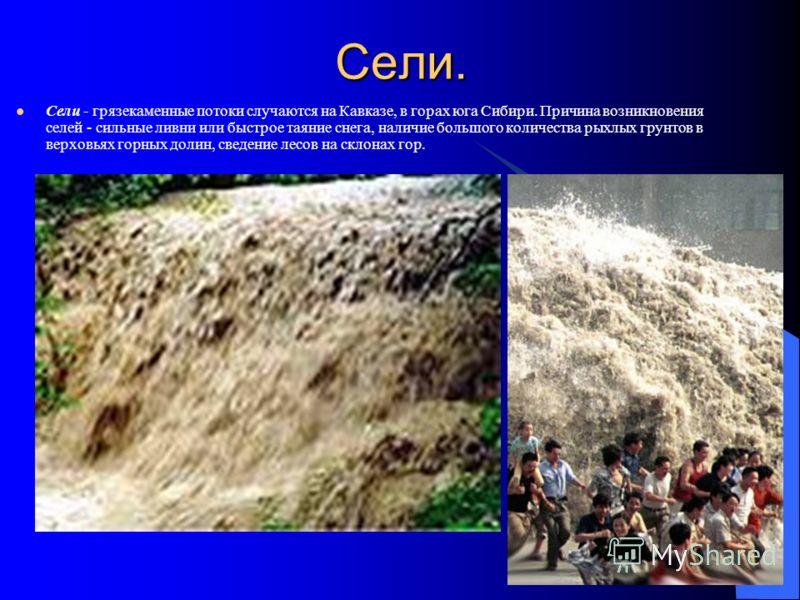 Сели. Сели - грязекаменные потоки случаются на Кавказе, в горах юга Сибири. Причина возникновения селей - сильные ливни или быстрое таяние снега, наличие большого количества рыхлых грунтов в верховьях горных долин, сведение лесов на склонах гор.