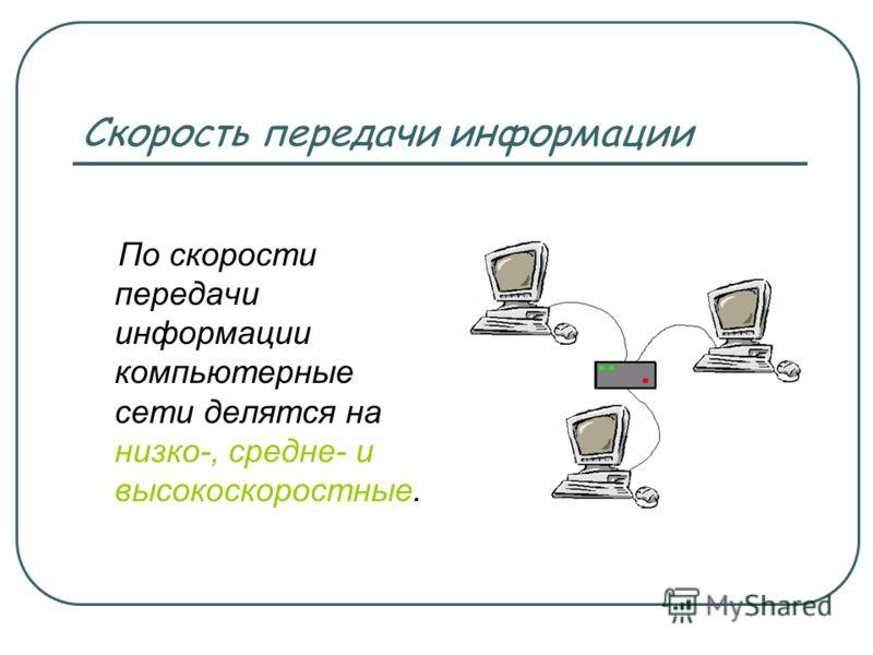 Скорость передачи информации По скорости передачи информации компьютерные сети делятся на низко-, средне- и высокоскоростные.