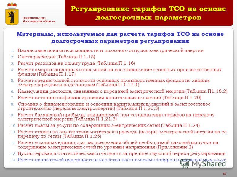 Правительство Ярославской области 18 Регулирование тарифов ТСО на основе долгосрочных параметров 1. Балансовые показатели мощности и полезного отпуска электрической энергии 2. Смета расходов (Таблица П 1.15) 3. Расчет расходов на оплату труда (Таблиц