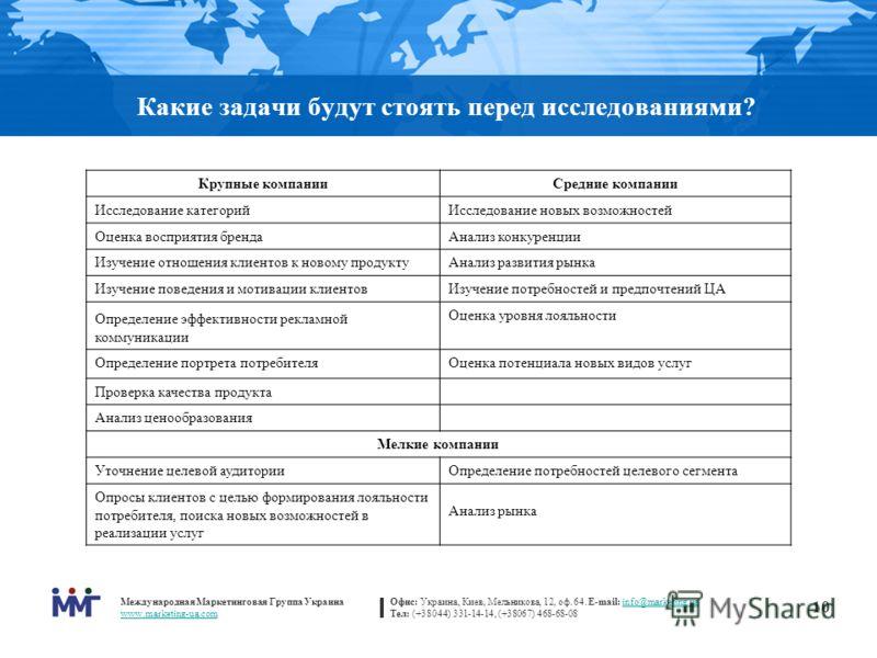 Международная Маркетинговая Группа Украина www.marketing-ua.com Офис: Украина, Киев, Мельникова, 12, оф. 64. E-mail: info@marketing.uainfo@marketing.ua Тел: (+38044) 331-14-14, (+38067) 468-68-08 10 Какие задачи будут стоять перед исследованиями? Кру