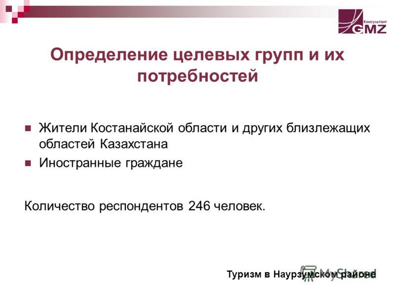 Определение целевых групп и их потребностей Жители Костанайской области и других близлежащих областей Казахстана Иностранные граждане Количество респондентов 246 человек. Туризм в Наурзумском районе