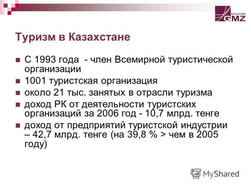 Туризм в Казахстане С 1993 года - член Всемирной туристической организации 1001 туристская организация около 21 тыс. занятых в отрасли туризма доход РК от деятельности туристских организаций за 2006 год - 10,7 млрд. тенге доход от предприятий туристс