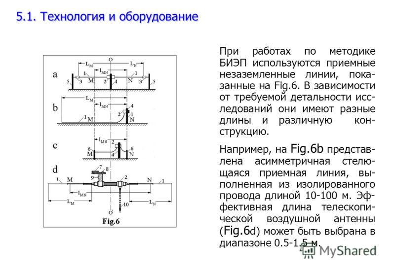 5.1. Технология и оборудование При работах по методике БИЭП используются приемные незаземленные линии, пока- занные на Fig.6. В зависимости от требуемой детальности исс- ледований они имеют разные длины и различную кон- струкцию. Например, на Fig.6b