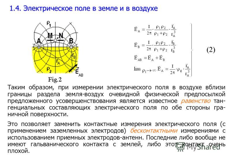 (2) Таким образом, при измерении электрического поля в воздухе вблизи границы раздела земля-воздух очевидной физической предпосылкой предложенного усовершенствования является известное равенство тан- генциальных составляющих электрического поля по об