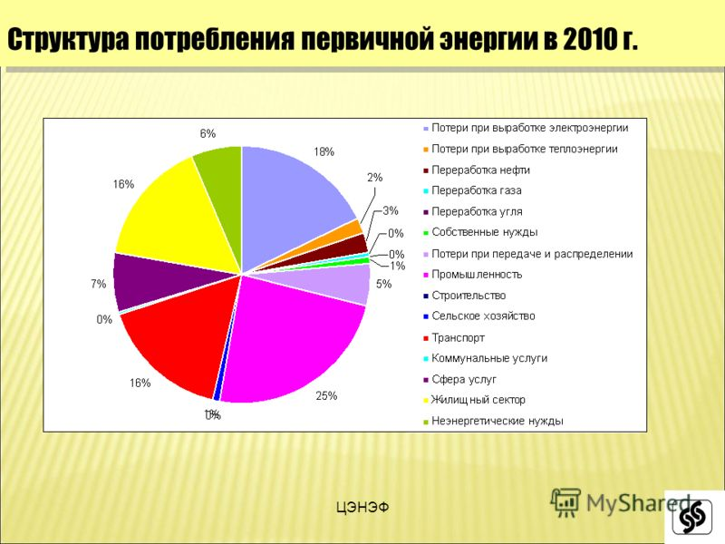ЦЭНЭФ Структура потребления первичной энергии в 2010 г.