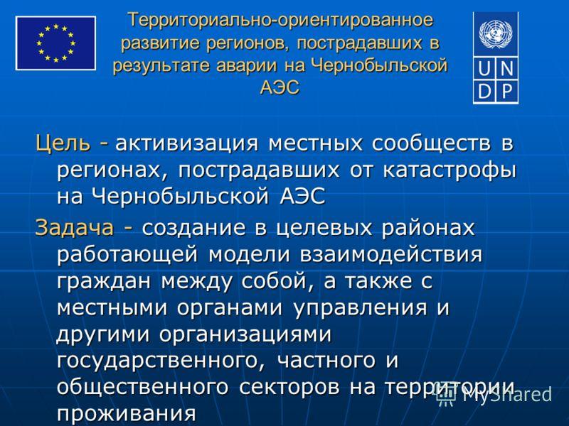 Территориально-ориентированное развитие регионов, пострадавших в результате аварии на Чернобыльской АЭС Цель - активизация местных сообществ в регионах, пострадавших от катастрофы на Чернобыльской АЭС Задача - создание в целевых районах работающей мо