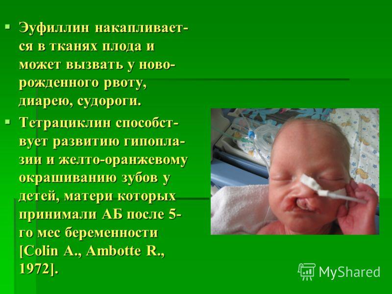 Эуфиллин накапливает- ся в тканях плода и может вызвать у ново- рожденного рвоту, диарею, судороги. Эуфиллин накапливает- ся в тканях плода и может вызвать у ново- рожденного рвоту, диарею, судороги. Тетрациклин способст- вует развитию гипопла- зии и