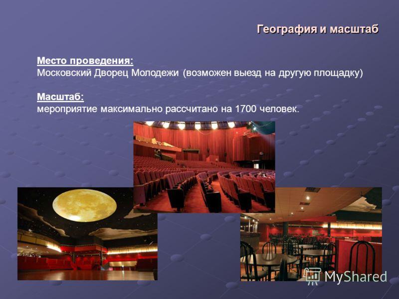 География и масштаб Место проведения: Московский Дворец Молодежи (возможен выезд на другую площадку) Масштаб: мероприятие максимально рассчитано на 1700 человек.