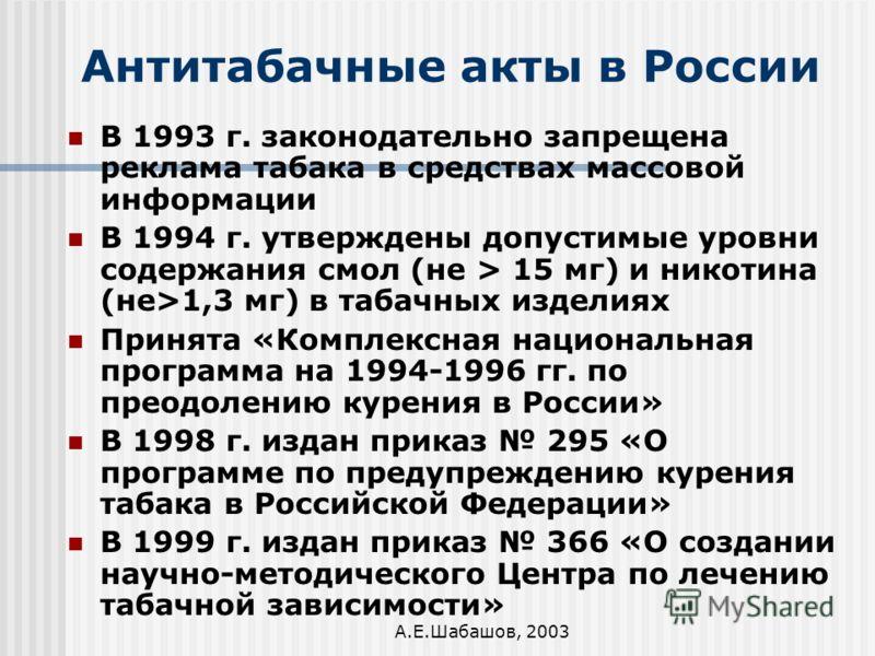 А.Е.Шабашов, 2003 Антитабачные акты в России В 1993 г. законодательно запрещена реклама табака в средствах массовой информации В 1994 г. утверждены допустимые уровни содержания смол (не > 15 мг) и никотина (не>1,3 мг) в табачных изделиях Принята «Ком