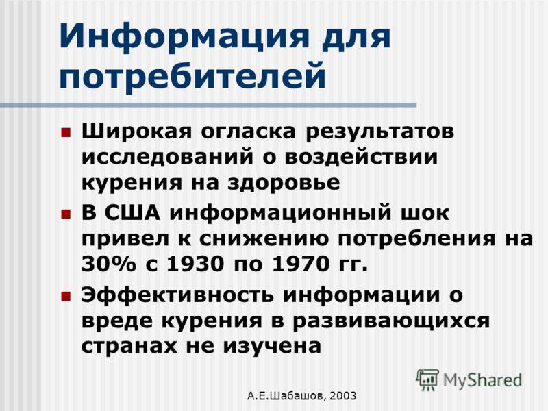 А.Е.Шабашов, 2003 Информация для потребителей Широкая огласка результатов исследований о воздействии курения на здоровье В США информационный шок привел к снижению потребления на 30% с 1930 по 1970 гг. Эффективность информации о вреде курения в разви
