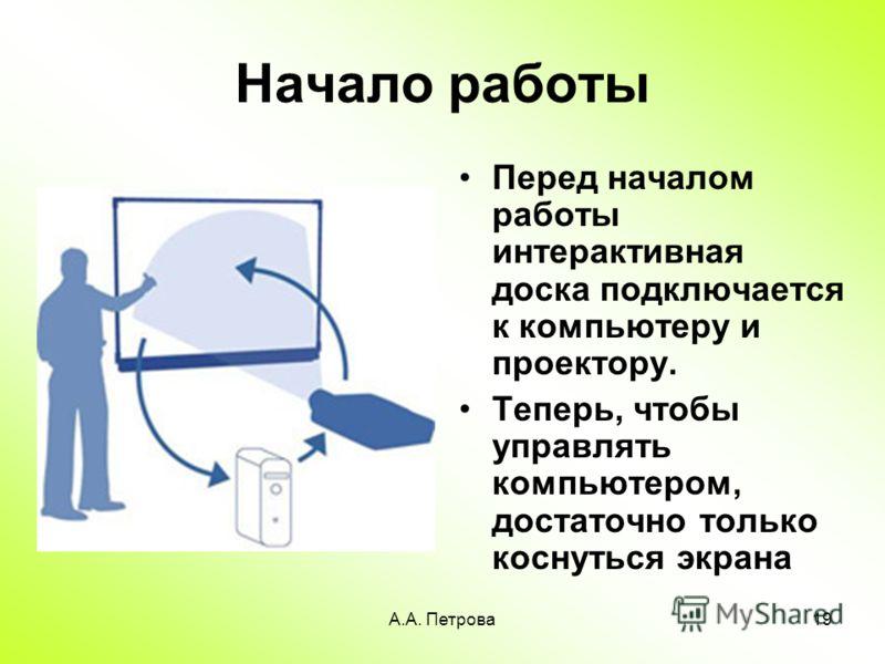 А.А. Петрова19 Начало работы Перед началом работы интерактивная доска подключается к компьютеру и проектору. Теперь, чтобы управлять компьютером, достаточно только коснуться экрана