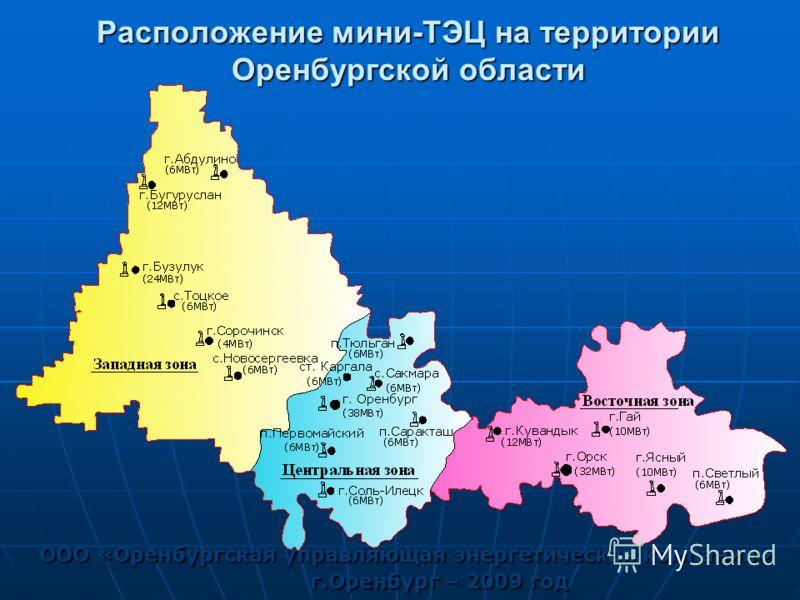 Расположение мини-ТЭЦ на территории Оренбургской области ООО «Оренбургская управляющая энергетическая компания» г.Оренбург – 2009 год