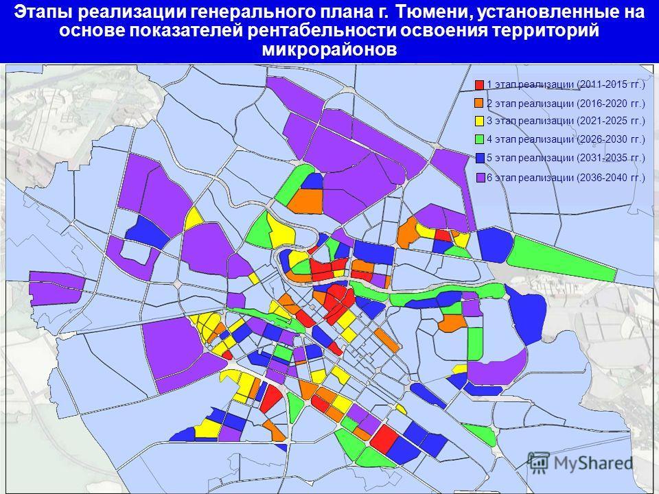 Этапы реализации генерального плана г. Тюмени, установленные на основе показателей рентабельности освоения территорий микрорайонов 1 этап реализации (2011-2015 гг.) 2 этап реализации (2016-2020 гг.) 3 этап реализации (2021-2025 гг.) 4 этап реализации