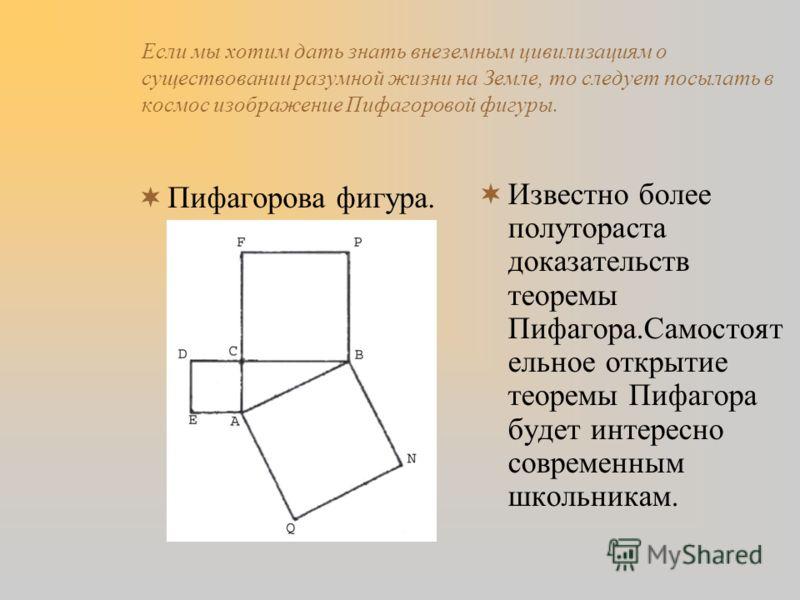 Если мы хотим дать знать внеземным цивилизациям о существовании разумной жизни на Земле, то следует посылать в космос изображение Пифагоровой фигуры. Пифагорова фигура. Известно более полутораста доказательств теоремы Пифагора.Самостоят ельное открыт
