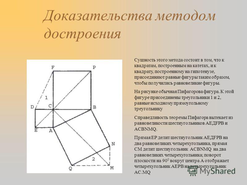 Доказательства методом достроения Сущность этого метода состоит в том, что к квадратам, построенным на катетах, и к квадрату, построенному на гипотенузе, присоединяют равные фигуры таким образом, чтобы получились равновеликие фигуры. На рисунке обычн