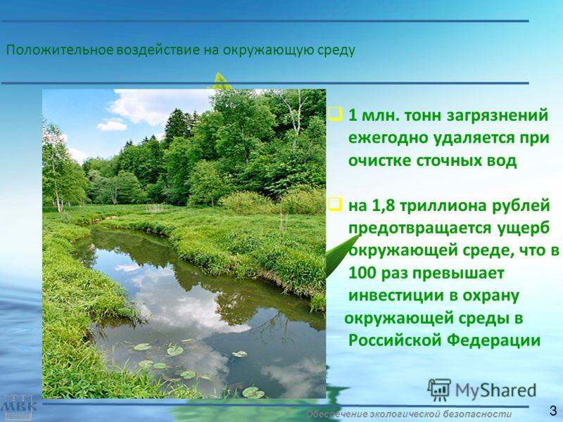 Положительное воздействие на окружающую среду 1 млн. тонн загрязнений ежегодно удаляется при очистке сточных вод на 1,8 триллиона рублей предотвращается ущерб окружающей среде, что в 100 раз превышает инвестиции в охрану окружающей среды в Российской