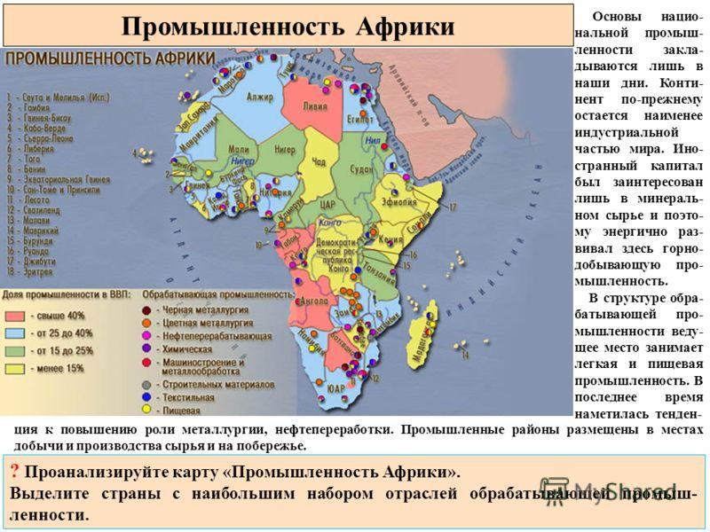 Промышленность Африки Основы нацио- нальной промыш- ленности закла- дываются лишь в наши дни. Конти- нент по-прежнему остается наименее индустриальной частью мира. Ино- странный капитал был заинтересован лишь в минераль- ном сырье и поэто- му энергич