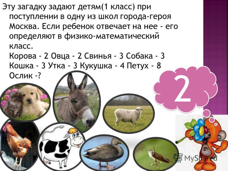 Эту загадку задают детям(1 класс) при поступлении в одну из школ города-героя Москва. Если ребенок отвечает на нее - его определяют в физико-математический класс. Корова - 2 Овца - 2 Свинья - 3 Собака - 3 Кошка - 3 Утка - 3 Кукушка - 4 Петух - 8 Осли