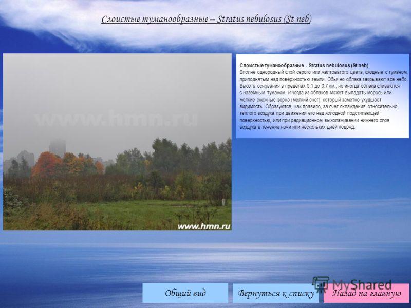 Вернуться к спискуНазад на главную Слоистые туманообразные – Stratus nebulosus (St neb) Слоистые туманообразные - Stratus nebulosus (St neb). Вполне однородный слой серого или желтоватого цвета, сходные с туманом, приподнятым над поверхностью земли.