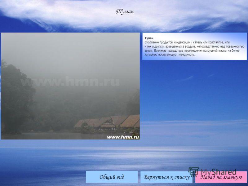 Туман Туман. Скопление продуктов конденсации ( капель или кристаллов, или и тех и других), взвешенных в воздухе, непосредственно над поверхностью земли. Возникает вследствие перемещения воздушной массы на более холодную постилающую поверхность. Верну