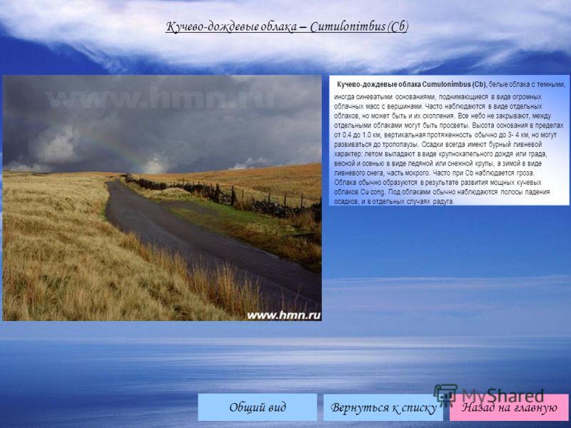Кучево-дождевые облака – Cumulonimbus (Cb) Кучево-дождевые облака Cumulonimbus (Cb), белые облака с темными, иногда синеватыми основаниями, поднимающиеся в виде огромных облачных масс с вершинами. Часто наблюдаются в виде отдельных облаков, но может