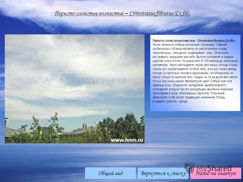 Перисто-слоистые волнистые – Cirrоstratus fibratus (Cs fib) Перисто-слоистые волнистые - Cirrostratus fibratus (Cs fib) – белая пелена со слабым волнистым строением. Главной особенностью облаков является их расположение в виде параллельных, кажущихся