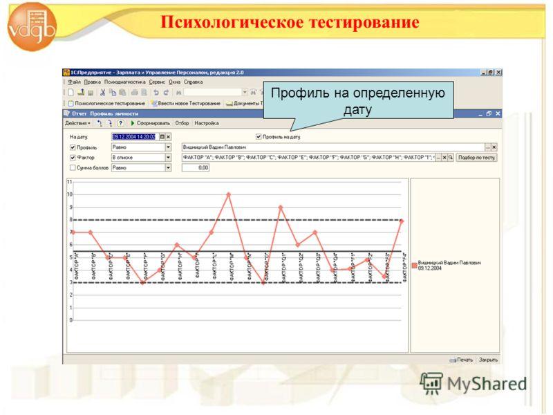 Психологическое тестирование Профиль на определенную дату
