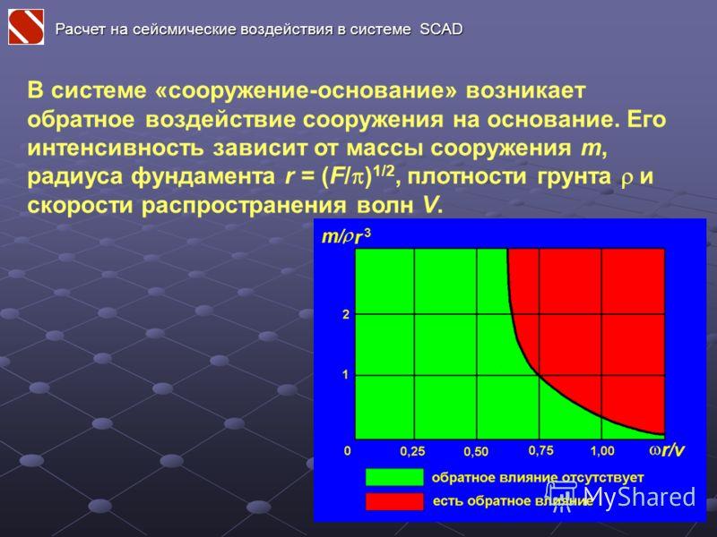 В системе «сооружение-основание» возникает обратное воздействие сооружения на основание. Его интенсивность зависит от массы сооружения m, радиуса фундамента r = (F/ ) 1/2, плотности грунта и скорости распространения волн V. Расчет на сейсмические воз
