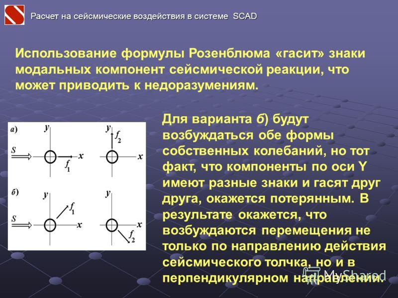 Использование формулы Розенблюма «гасит» знаки модальных компонент сейсмической реакции, что может приводить к недоразумениям. Для варианта б) будут возбуждаться обе формы собственных колебаний, но тот факт, что компоненты по оси Y имеют разные знаки