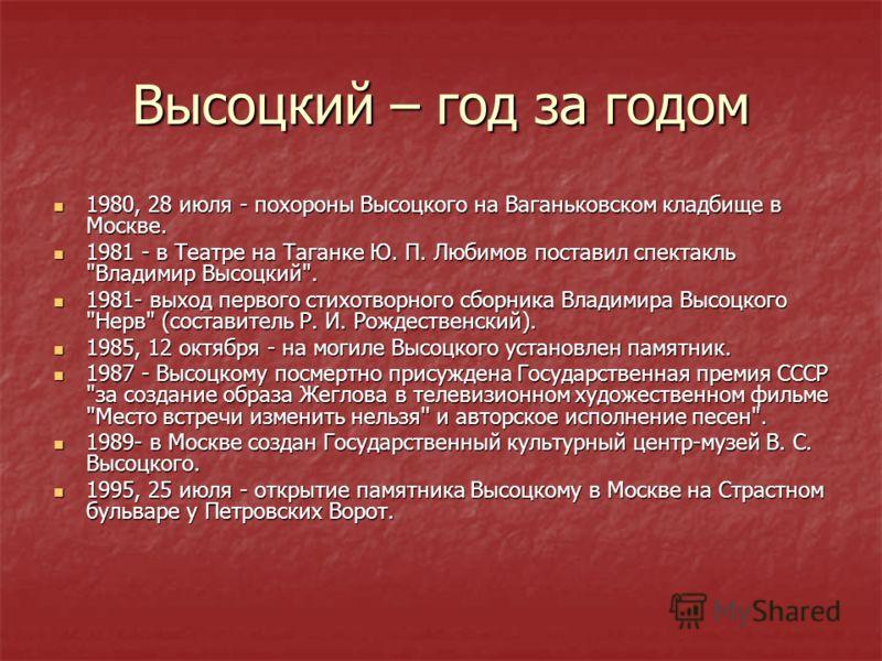 Высоцкий – год за годом 1980, 28 июля - похороны Высоцкого на Ваганьковском кладбище в Москве. 1980, 28 июля - похороны Высоцкого на Ваганьковском кладбище в Москве. 1981 - в Театре на Таганке Ю. П. Любимов поставил спектакль