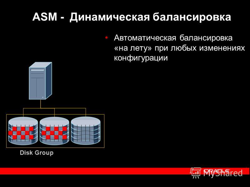 Disk Group Автоматическая балансировка «на лету» при любых изменениях конфигурации ASM - Динамическая балансировка