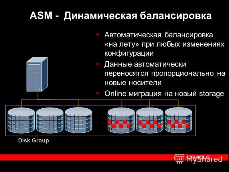Disk Group ASM - Динамическая балансировка Автоматическая балансировка «на лету» при любых изменениях конфигурации Данные автоматически переносятся пропорционально на новые носители Online миграция на новый storage