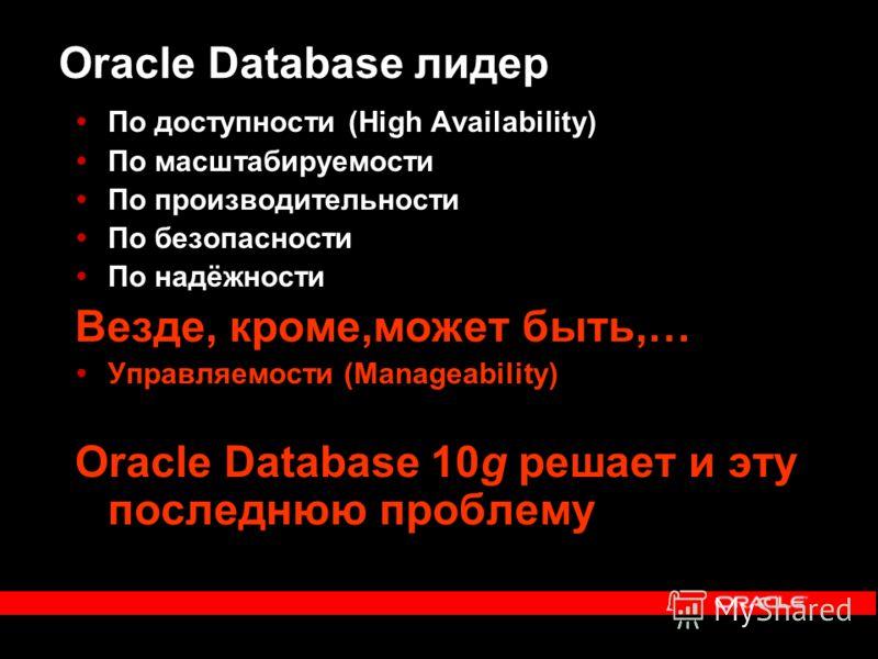 Oracle Database лидер По доступности (High Availability) По масштабируемости По производительности По безопасности По надёжности Везде, кроме,может быть,… Управляемости (Manageability) Oracle Database 10g решает и эту последнюю проблему