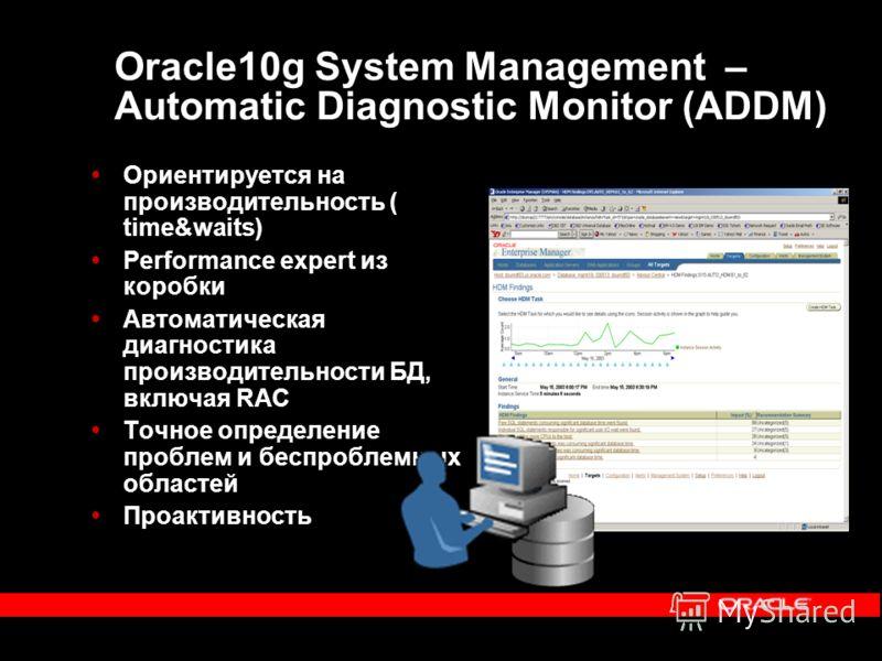 Oracle10g System Management – Automatic Diagnostic Monitor (ADDM) Ориентируется на производительность ( time&waits) Performance expert из коробки Автоматическая диагностика производительности БД, включая RAC Точное определение проблем и беспроблемных