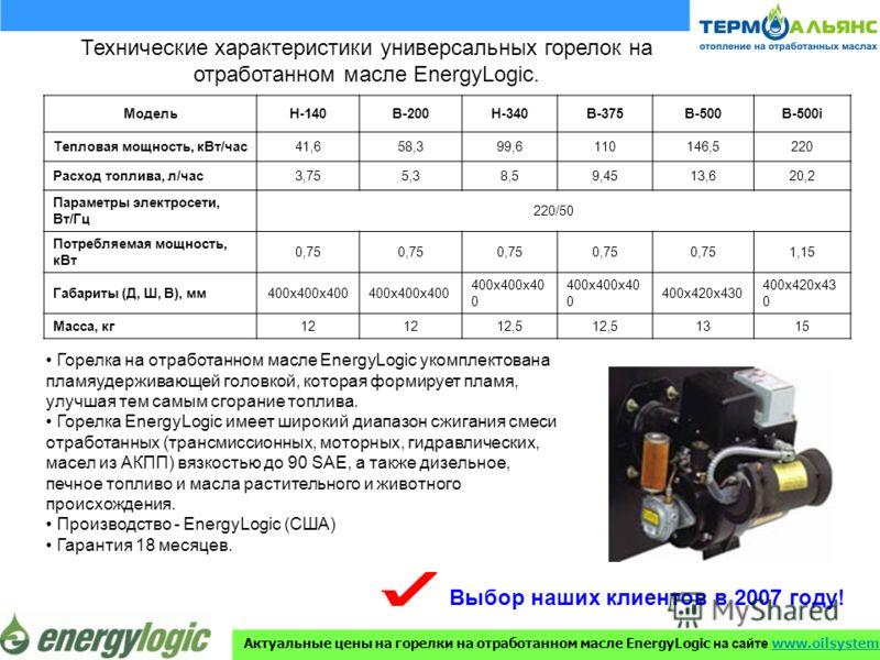 Технические характеристики универсальных горелок на отработанном масле EnergyLogic. МодельH-140В-200Н-340В-375В-500В-500i Тепловая мощность, кВт/час41,658,399,6110146,5220 Расход топлива, л/час3,755,38,59,4513,620,2 Параметры электросети, Вт/Гц 220/5