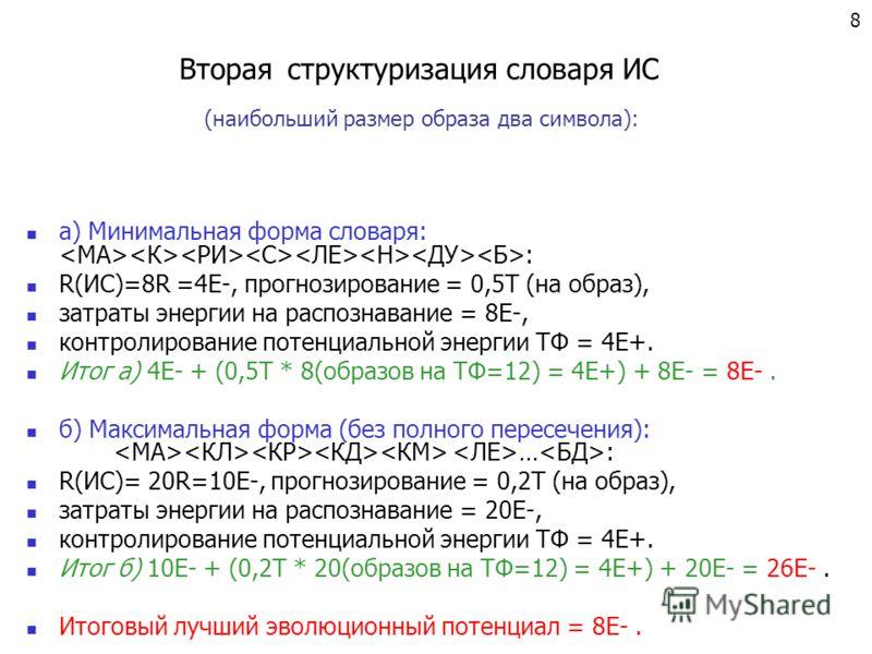 Вторая структуризация словаря ИС а) Минимальная форма словаря: : R(ИС)=8R =4Е-, прогнозирование = 0,5Т (на образ), затраты энергии на распознавание = 8E-, контролирование потенциальной энергии ТФ = 4E+. Итог а) 4Е- + (0,5Т * 8(образов на ТФ=12) = 4E+