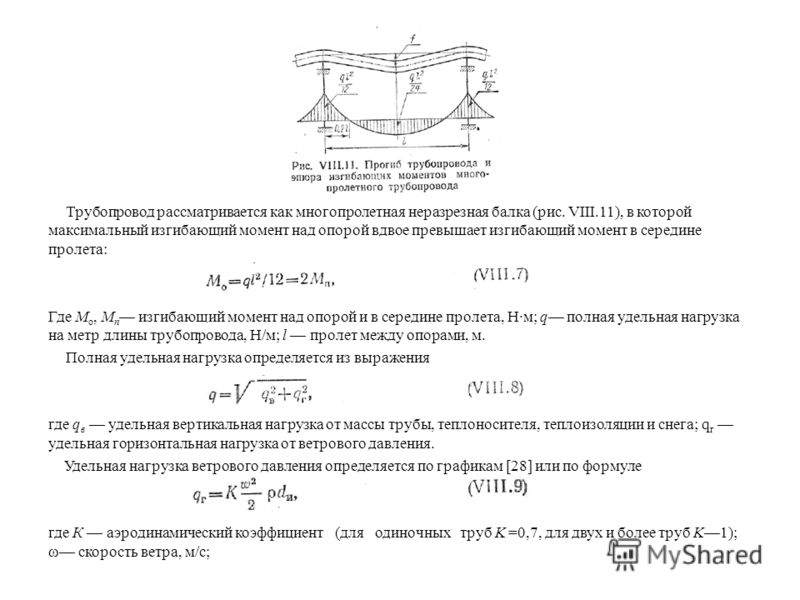 Трубопровод рассматривается как многопролетная неразрезная балка (рис. VIII.11), в которой максимальный изгибающий момент над опорой вдвое превышает изгибающий момент в середине пролета: Где M o, М п изгибающий момент над опорой и в середине пролета,